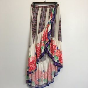 Flying Tomato High Low Floral Multi Color Skirt